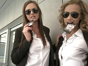 Two police officers Tina Kay and Veronica Leal take prescribe for a dick
