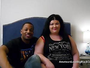 Chunky BBW pounded by two fat black cocks