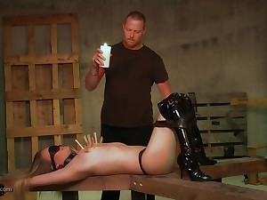 Kinky infant in latex boots gets clamped until he whips his dick out