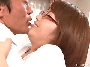 Tenebrous Japanese MILF with glasses gets cum out of reach of her confidential after a fuck