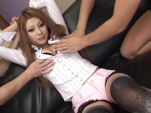 Crave haired Japanese beauty lets her pussy added to bore get toyed with