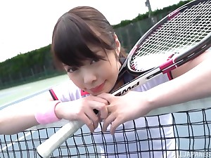 Sporty Japanese teen Ootori Kaname gets cum overhead he face after fucking