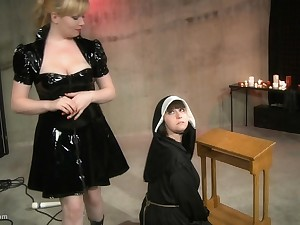 Kinky tribade nun gets her pussy ill-treated by her mistress