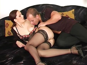 MILF in lingerie Carol rides flannel in stockings on the couch