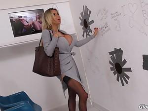 Concocted blonde harlot Danielle Derek fucks a chubby black glory opening cock