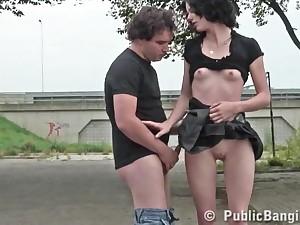 treacherous haired lady girl fucks in slay rub elbows with car park - darkhair