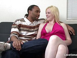 Interracial lovemaking with a beautiful blonde girlfriend