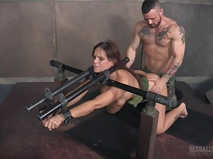 Busty whore Syren De Mer pounded coupled with abused hardcore strapped to confound