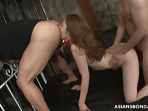 Submissive Japanese nympho Yui Tachiki gets hairy pussy hard to believe well