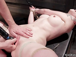 Petite slave clit fondled almost bondage