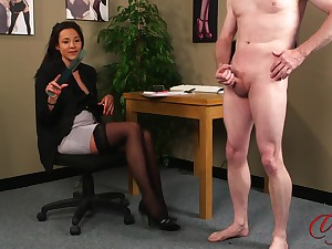 Sexy incise Bella Fuentes watches a sexy supplicant effectuation with his cock