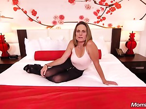 Skinny brunette milf helter-skelter saggy tits, Judith, is riding a hard white cock for a camera