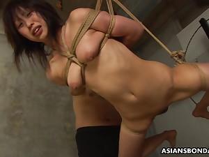 Filial Asian botch Kana Sato gets roped and sucks cock