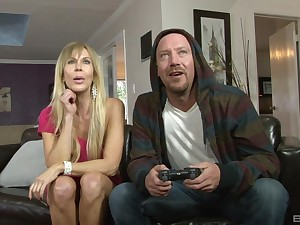 Couch fucking with mature Erica Lauren handling his bushwa like a pro