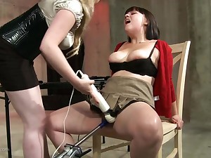 Brunette chick moans loudly while she gets punished with toys