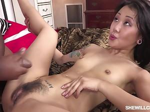 Asian Lass And Black Male Pole - ANALDIN