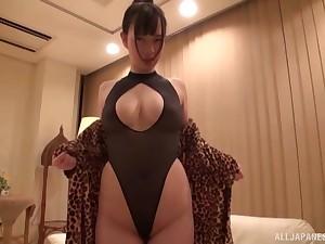 Oiled yon busty Japanese old bag Saitou Miyu fondled in lingerie