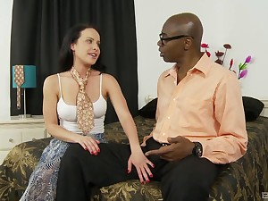 Cumshot from a big black dick on a round pest of babe Katie St. Ives