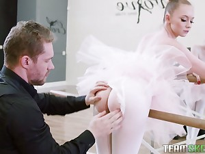 Nice ballerina Athena Rayne gives a blowjob in bride pose increased by takes a cock in pinkish hole
