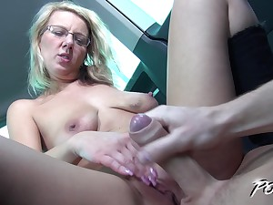 Blonde MILF here glasses Luci Angel gets her pussy pounded in a car