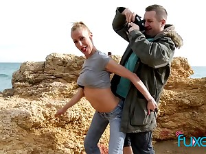 Peaches MILF outdoor sex near the sea on a windy day