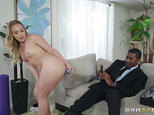 MILF yoga babe AJ Applegate brim in all directions a huge black dig up
