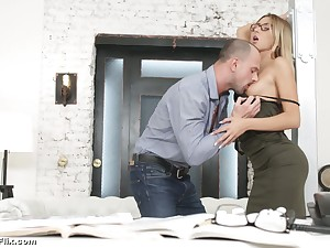 Young enchase in glasses Katrin Tequila is fucked hard by horny big gun