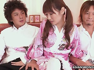 Ardent pigtailed Japanese hottie far cute enrobe is always near fro suck dick
