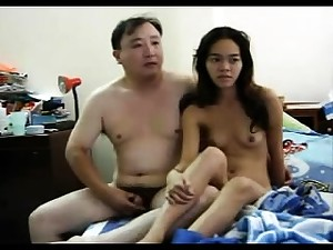Small Asian slut getting the brush hairy pussy