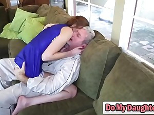 Redhead cutie sucks an elder guy and rides him in the same way as a nympho