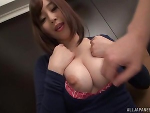 Shove around amateur Japanese brunette strips and plays with herself