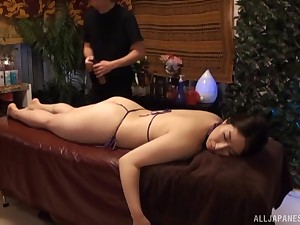Oiled and scalding dame is ready for massage and hard mating after that