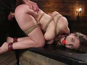Obedient gagged termagant with big booty Stella Cox is brutally nailed doggy
