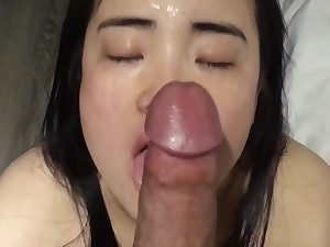 cute chinese hotel housekeeper sucks foreigners cock for a good tip