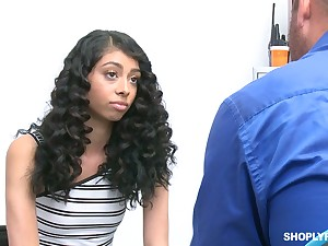 Great looking crispy haired pamper is taught a lesson by a store security