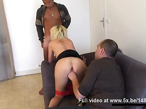 French Swiss Milf takes 2 cocks