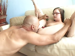 Dweeb girl gets finger blasted increased by sucks his dick