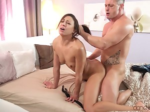 Small titted French porn star Cassie Del Isla has a thersitical fuck session