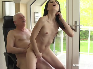 Roxy Tone sits on a friend's fat and hard penis on touching say no to tiny cunt