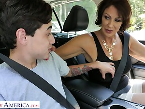 Corrupt stepmom Vanessa Videl gives a blowjob and gets her pussy nailed