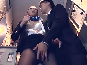 Japanese Cabin attendant get pounded while in short order check