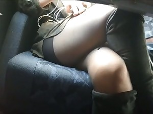 This hoe likes to upset a short skirt and she likes flashing me her sexy legs