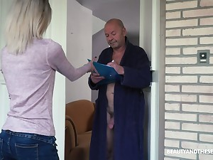 Too sad light haired Hungarian girl Missy Luv rides strong cock of old scrounger