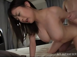 Busty Japanese housewife swallows cum check into getting screwed till orgasm