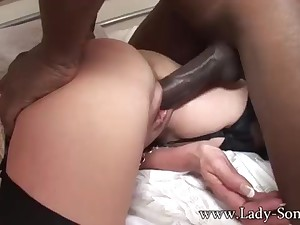 Brit COUGAR gets poked unconnected with Obese BLACK COCK while Cuck witnesses