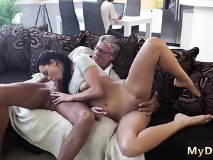 Blonde blowjob bathroom facial and double penetration