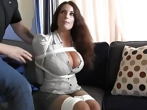 Buxomy housewife gets immensely crazy when she gets corded up and left on be passed on floor