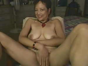Asian Mommy Playing With Dildo On Webcam