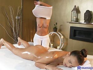 Debauched lesbian sex on the massage table - Claudia Bavel and Foxxi Black
