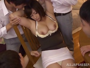 Mature Japanese Kyoka Miyabe gives acid-head to a lot of dudes by way of sexual connection